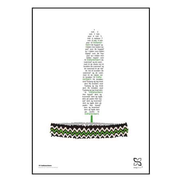 """Plakat med sangteksten til børnesangen """"10 indianerbørn"""" designet i grafisk form, så teksten danner et pandebånd med fjer."""