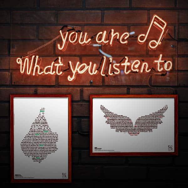 """Flotte plakater med Rockers by Choice's tekster """"Ama'r er nummer 1"""" og """"Engel"""" opsat i grafisk form, som danner et kort over Amager og et par vinger."""