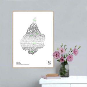 """Plakat med sangteksten til Rockers by Choice's """"Amar er nummer 1"""" designet i grafisk form, så teksten danner et kort over Amager."""