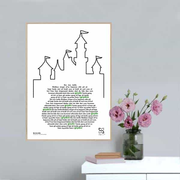 """Musikplakat med kendt og elsket børnesang """"Bro bro brille"""" med sangteksten opsat i grafisk form, så den danner en sort gryde med konturen af et slot ovenover."""