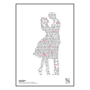 "Flot poster med George Michaels ""Careless whisper"" opsat i grafisk form, som danner et omfavnende par."