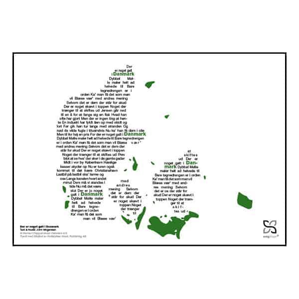 "Flot plakat med John Mogensens ""Der er noget galt i Danmark"" opsat i grafisk form, som danner et danmarkskort"