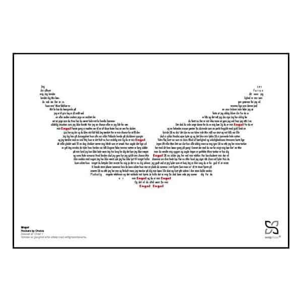 """Ikonisk poster med Rockers by Choice's """"engel"""". Sangteksten er opsat i grafisk form, som danner et billede af et par vinger."""