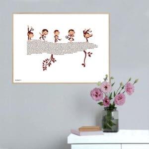 """Musikplakat med børnesangen """"Fem små aber sad på en gren"""""""