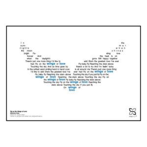 """Ikonisk plakat med Brødrene Olsens Melodi grand prix-hit """"Fly on the Wings of Love"""". Sangteksten er opsat i grafisk form, som danner et billede af et par vinger."""