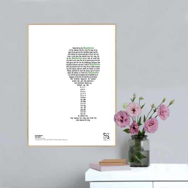"""Flot plakat med Kim Larsens hit """"Fru sauterne"""". Sangteksten er opsat i grafisk form, som danner et billede af et vinglas."""