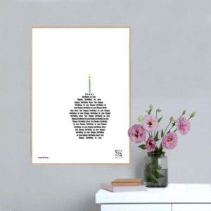 """Grafisk poster med teksten til sangen """"Happy birthday"""" opsat, så teksten danner et billede af en cupcake med lys."""