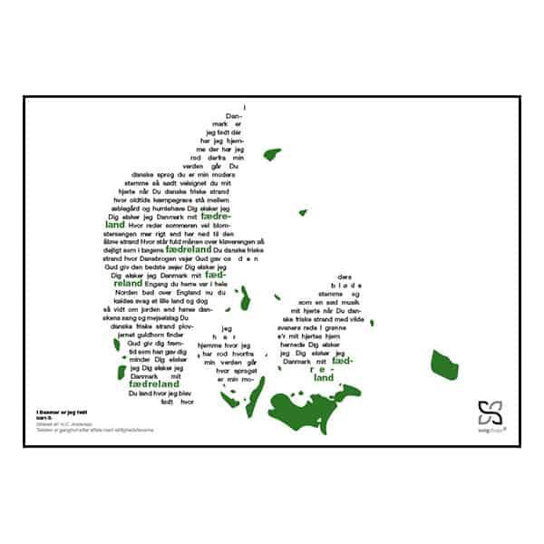 """Flot plakat med Isam B's' hit """"I Danmark er jeg født"""" opsat i grafisk form, som danner et danmarkskort."""