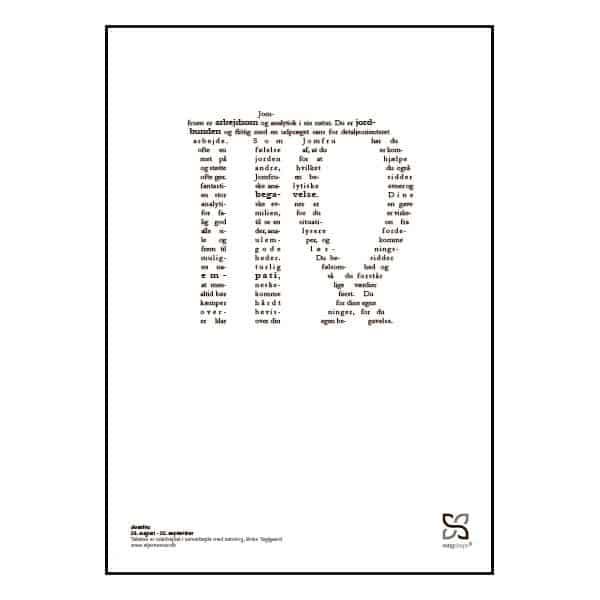 Grafisk plakat med tekst om stjernetegnet Jomfruen.