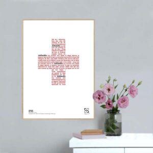 """Grafisk musikplakat med sangteksten til Kim Larsens legendariske nummer """"Jutlandia"""" opsat i grafisk form, så teksten danner et rødt kors."""