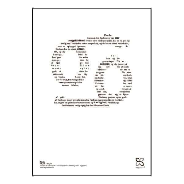 Grafisk plakat med tekst om stjernetegnet krebsen.