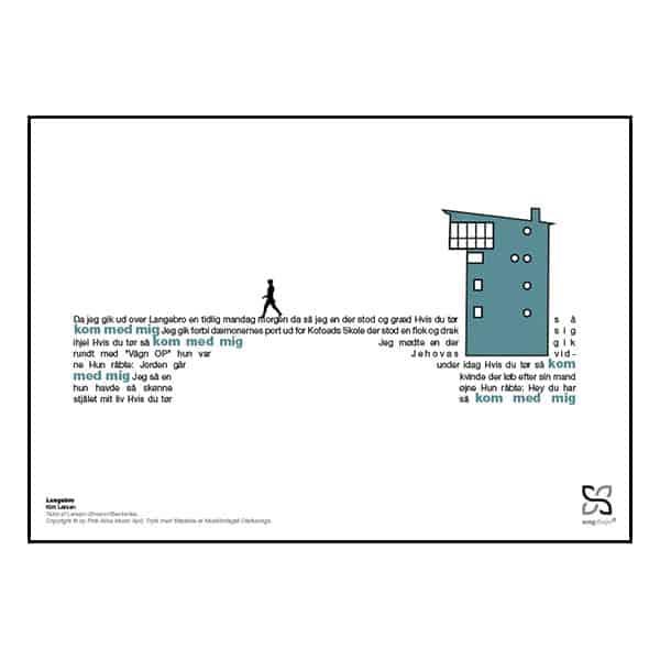 """Grafisk musikplakat. Lune Kim Larsens """"Langebro"""" opsat i grafisk form, så teksten danner et billede af Langebro."""