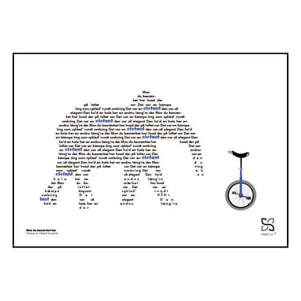 """Smuk og enkel plakat med elsket børnesang """"mon du bemærket har"""" opsat i grafisk form så teksten danner et billede af en elefant"""