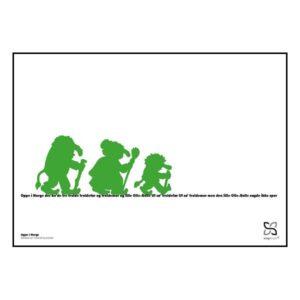 """Plakat med elsket børnesang """"Oppe i Norge"""" opsat i grafisk form med silhouetter af tre grønne trolde, der går på en tekst."""