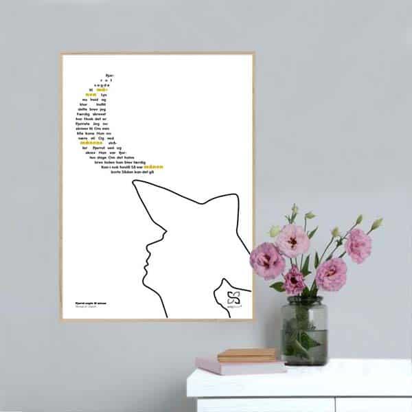 """Plakat med elsket børnesang """"Pjerrot sagde til månen"""" opsat i grafisk form så teksten danner et billede af en måne."""