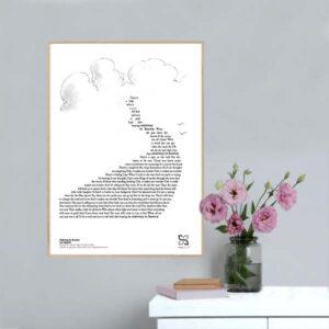 """Grafisk musikplakat med teksten fra Led Zeppelins """"Stairway to heaven"""" opsat i grafisk form så teksten danner et billede af en vej."""