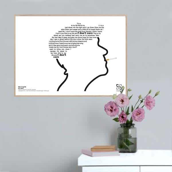"Grafisk musikplakat med sangteksten til Kim Larsens ""This is my life"" opsat i grafisk form, så teksten danner Kim Larsens kasket."