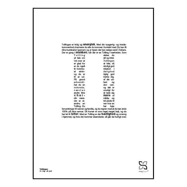 Grafisk plakat med tekst om stjernetegnet tvillingen.