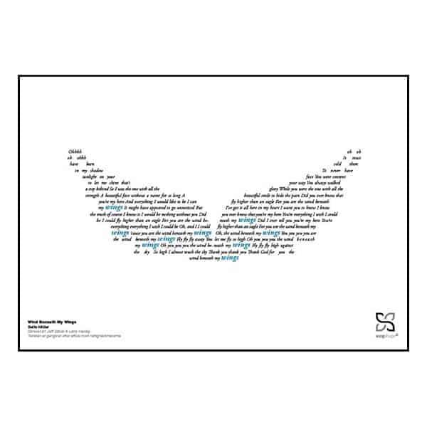 "Grafisk musikplakat med sangteksten til Bette Midler's ""Wind beneath my wings"" opsat i grafisk form, så teksten danner et par vinger."