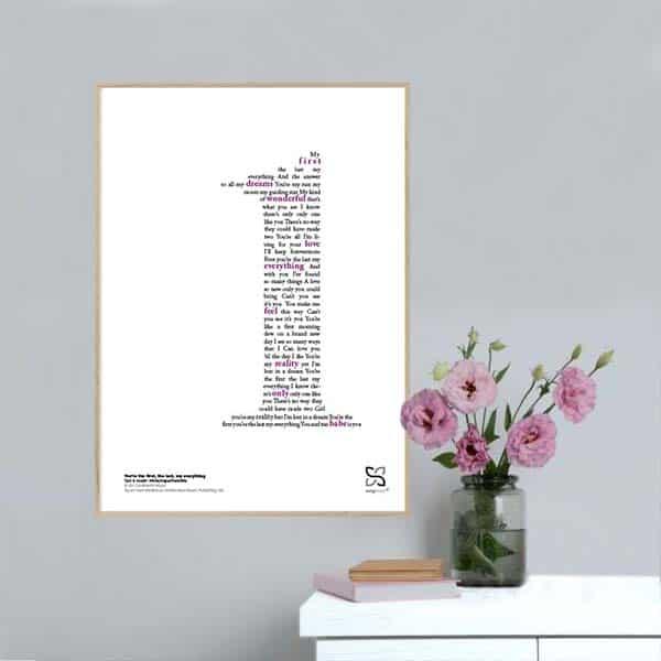 "Flot og ikonisk musikplakat med Barry White's hit ""You are the first, my last, my everything"" opsat i grafisk form, så teksten danner et 1-tal."