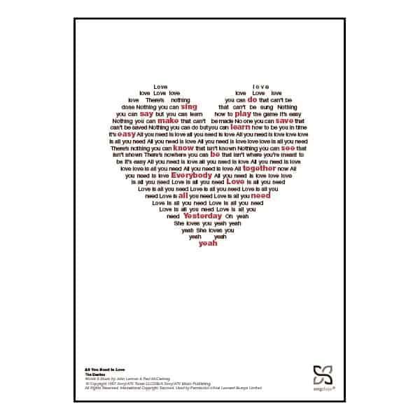 """Dekorativ musikplakat med The Beatles' legendariske hit """"All you need is love"""" opsat i grafisk form, så teksten danner et billede af et hjerte."""