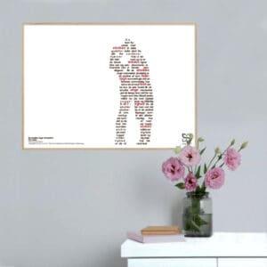 """Dekorativ musikplakat med Kim Larsens hit """"De smukke unge mennesker"""" opsat i grafisk form, så teksten danner et billede."""