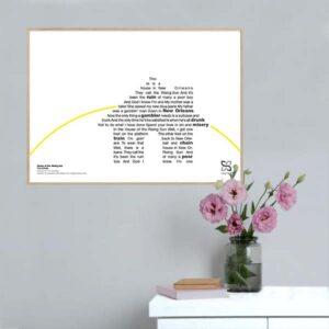 """Flot og ikonisk musikplakat med The Animals' nummer """"House of the Rising Sun"""" opsat i grafisk form, så teksten danner et billede af et hus med solen i horisonten."""