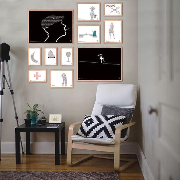 Flot plakatgalleri med mange af Kim Larsens legendariske hits. Sangteksterne danner billederne som ikoniske former.