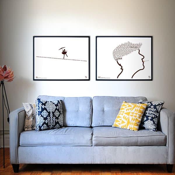 """Flot plakatsæt med Kim Larsens legendariske hits """"""""This is my Life"""" og """"Om lidt"""". Teksterne danner billeder af hhv. Kim Larsens kasket og en linedanser."""