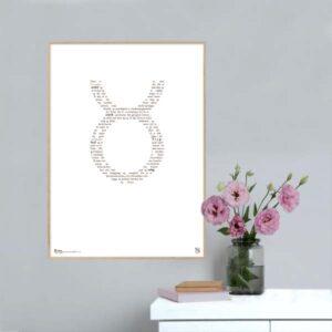Grafisk plakat med tekst om stjernetegnet tyren.