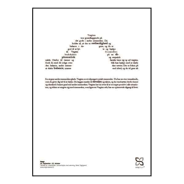 Grafisk plakat med tekst om stjernetegnet vægten