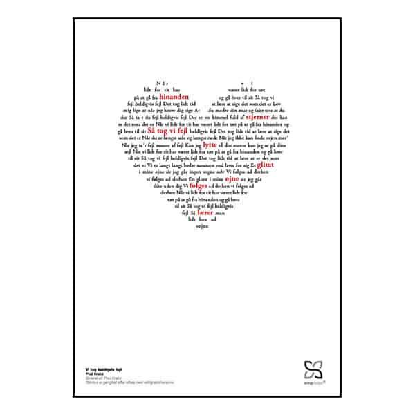 """Flot og ikonisk musikplakat med Poul Krebs' nummer """"Vi tog heldigvis fejl"""" opsat i grafisk form, så teksten danner hjerte."""