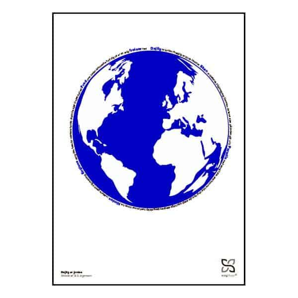 """Flot plakat med sangteksten til Ingemann's """"Dejlig er jorden""""."""
