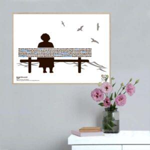 """Dekorativ plakat med Gnags' tekst """"når jeg bliver gammel"""" opsat i grafisk form, som danner en bænk med en ældre kvinde."""