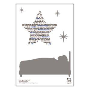 """Dekorativ plakat med Rasmus Seebachs tekst """"Under stjernerne"""" opsat i grafisk form, som danner en stjerne."""