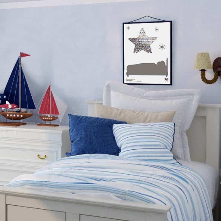 """Dekorativ plakat med Rasmus Seebachs """"Under stjernerne"""" opsat i grafisk form, som danner en stjerne."""