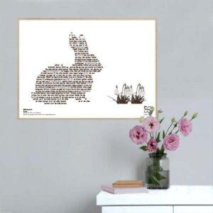 """Smuk plakat med Gnags' tekst """"Vilde kaniner"""" opsat i grafisk form, som danner et billede af en kanin."""