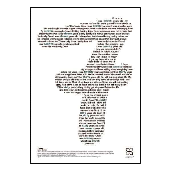 """Enkel og ikonisk plakat med Lukas Graham superhittet """"7 years"""""""" opsat i grafisk form, som danner et 7-tal."""