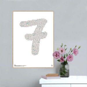 """Enkel og ikonisk plakat med Lukas Graham superhittet """"7 years"""""""" opsat i grafisk form, som danner et 7-tal"""