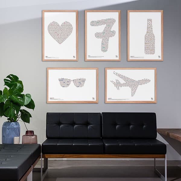 Billedvæg med 5 Lukas Graham plakater