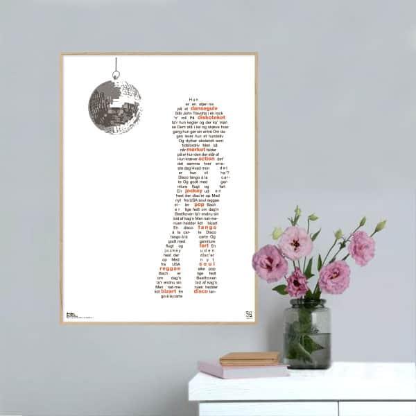 """Smuk plakat med Tommy Seebachs melodi grand prix hit """"disco tango"""" opsat i grafisk form, som danner en silhuet af en danser med trompetbukser."""
