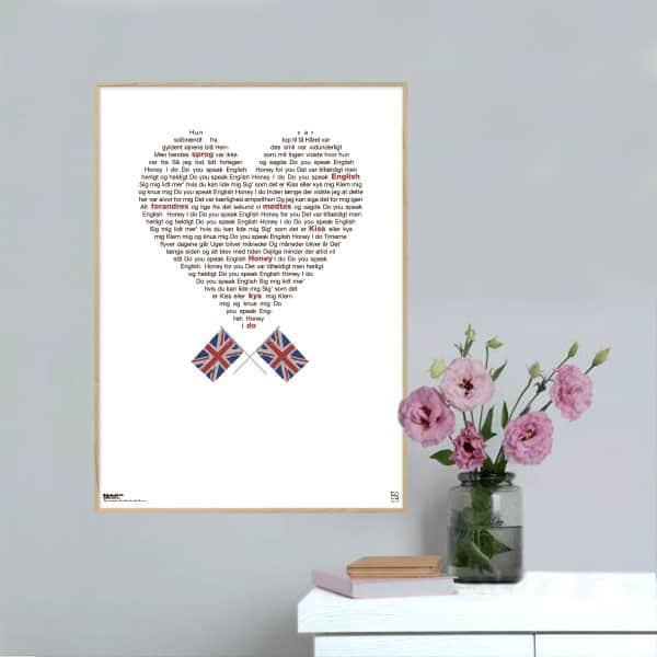 """Smuk og ikonisk plakat med Keld og Hildas melodi grand prix hit """"do you speak English?"""" opsat i grafisk form, som danner et hjerte."""