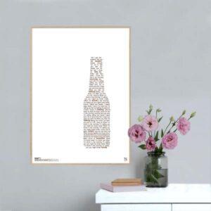 "Enkel og ikonisk plakat med Lukas Graham hittet ""drunk in the morning"" opsat i grafisk form, som danner en flaske."