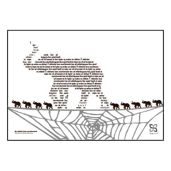 """Dejligt billede til børneværelset med teksten fra """"Én elefant kom marcherende"""" opsat i grafisk form."""