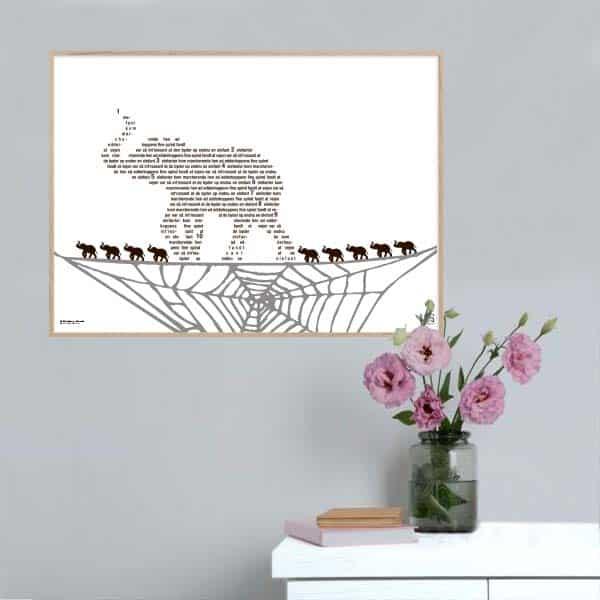 """Fin plakat til børneværelset med teksten fra """"Én elefant kom marcherende"""" opsat i grafisk form."""