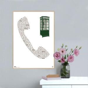 "Smuk plakat med Lonnie Devantiers melodi grand prix hit ""hallo, hallo"" opsat i grafisk form, som danner et gammeldags telefonrør."