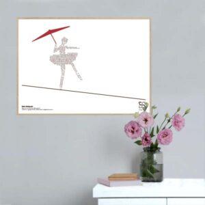 """Musikplakat """"Kære linedanser """" med tekst af Per Krois Kjærsgaard opsat i grafisk form, så sangteksten danner en linedanser"""