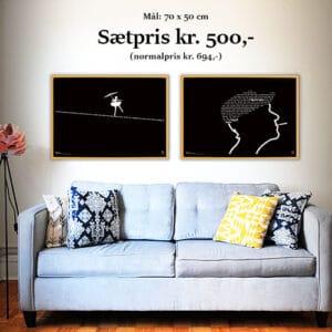 """Sæt med to Kim Larsen plakater med tekster fra de legendariske numre """"This is My Life"""" og """"Om Lidt"""" opsat som grafiske elementer"""