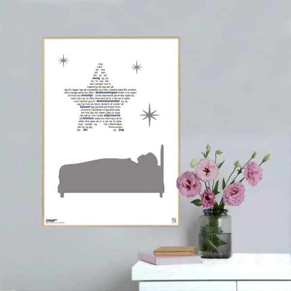 """Skøn plakat med Rasmus Seebachs hit """"under stjernerne på himlen"""" opsat i grafisk form, som danner en stjerne."""
