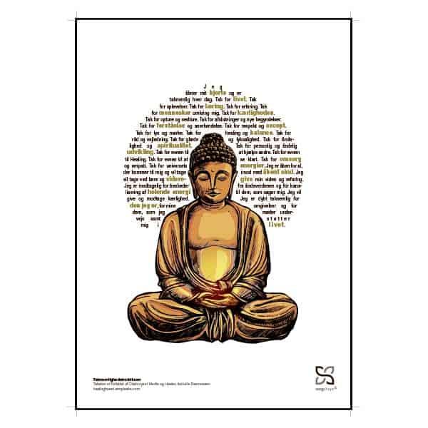 Grafisk plakat Taknemlighed budda. Spiritualitet